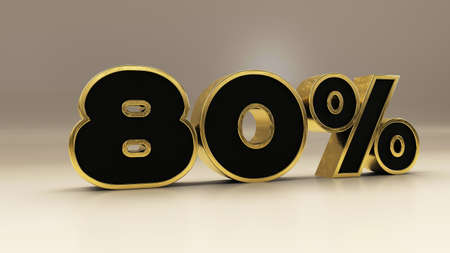 80 percent 3d gold and black luxury text isolated on white, 3d render illustration