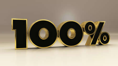 100 percent 3d gold and black luxury text isolated on white, 3d render illustration