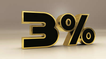3 percent 3d gold and black luxury text isolated on white, 3d render illustration