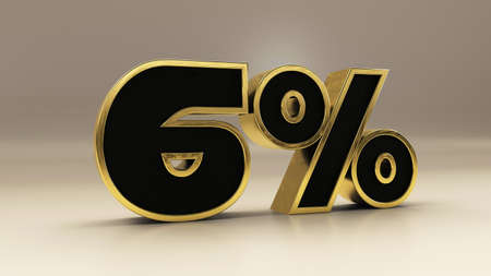6 percent 3d gold and black luxury text isolated on white, 3d render illustration