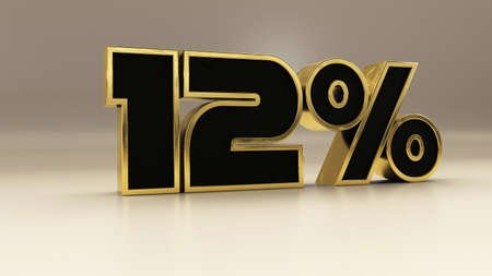 12 percent 3d gold and black luxury text isolated on white, 3d render illustration