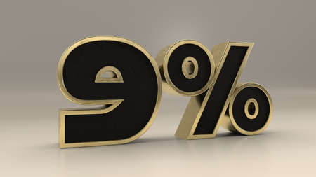 9 percent 3d gold and black luxury text isolated on white, 3d render illustration