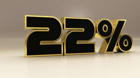 22 percent 3d gold and black luxury text isolated on white, 3d render illustration