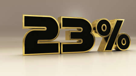 23 percent 3d gold and black luxury text isolated on white, 3d render illustration