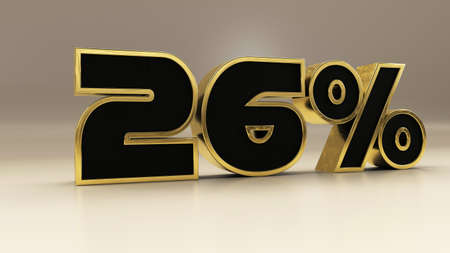 26 percent 3d gold and black luxury text isolated on white, 3d render illustration