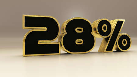 28 percent 3d gold and black luxury text isolated on white, 3d render illustration