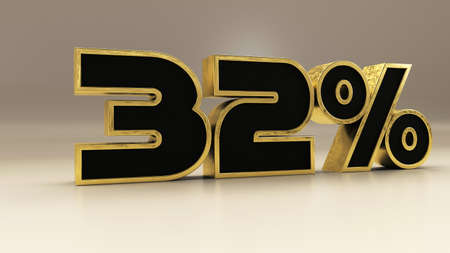 32 percent 3d gold and black luxury text isolated on white, 3d render illustration