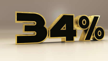 34 percent 3d gold and black luxury text isolated on white, 3d render illustration