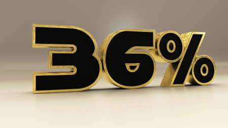 36 percent 3d gold and black luxury text isolated on white, 3d render illustration