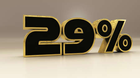 29 percent 3d gold and black luxury text isolated on white, 3d render illustration