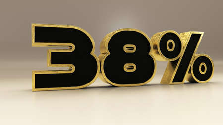 38 percent 3d gold and black luxury text isolated on white, 3d render illustration