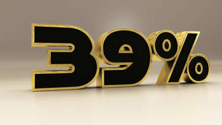 39 percent 3d gold and black luxury text isolated on white, 3d render illustration