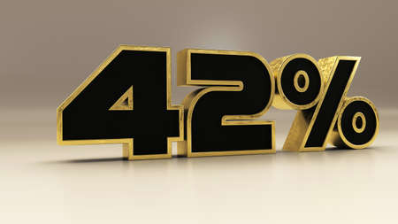 42 percent 3d gold and black luxury text isolated on white, 3d render illustration