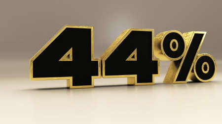 44 percent 3d gold and black luxury text isolated on white, 3d render illustration