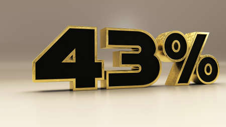 43 percent 3d gold and black luxury text isolated on white, 3d render illustration