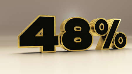 48 percent 3d gold and black luxury text isolated on white, 3d render illustration