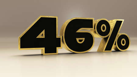 46 percent 3d gold and black luxury text isolated on white, 3d render illustration