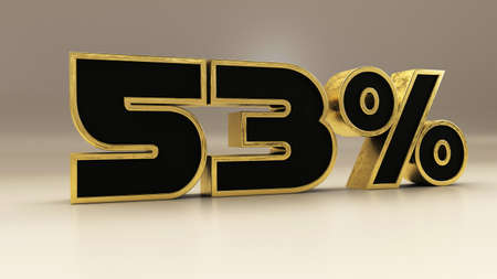 53 percent 3d gold and black luxury text isolated on white, 3d render illustration
