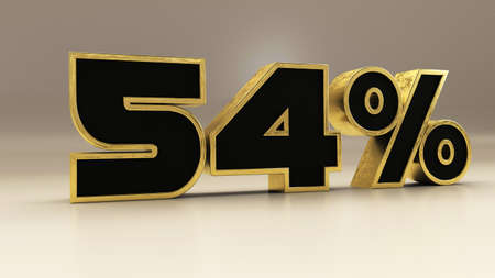 54 percent 3d gold and black luxury text isolated on white, 3d render illustration