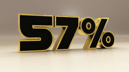 57 percent 3d gold and black luxury text isolated on white, 3d render illustration