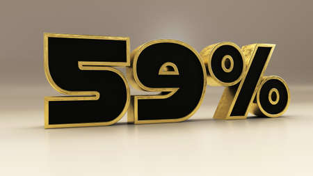 59 percent 3d gold and black luxury text isolated on white, 3d render illustration
