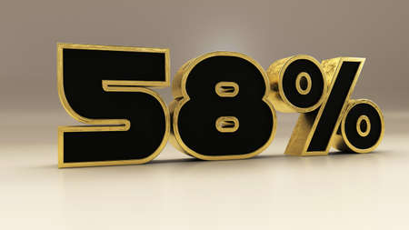 58 percent 3d gold and black luxury text isolated on white, 3d render illustration