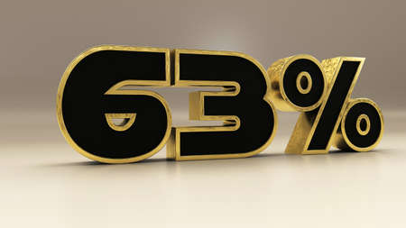 63 percent 3d gold and black luxury text isolated on white, 3d render illustration