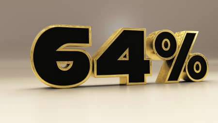 64 percent 3d gold and black luxury text isolated on white, 3d render illustration