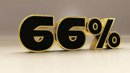 66 percent 3d gold and black luxury text isolated on white, 3d render illustration