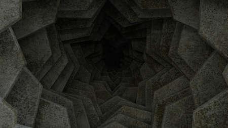 Dark concrete tunnel leading in darkness, 3d render illustration, depression concept. Archivio Fotografico