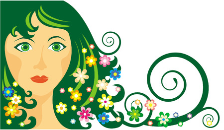 The illustration representing spring in the form of the young women, surrounded by flowers Stock Vector - 3332110