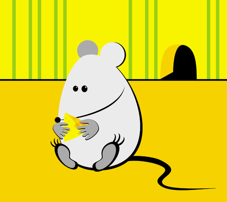 The illustration representing the thick mouse which has gorged on cheese Stock Vector - 3332103
