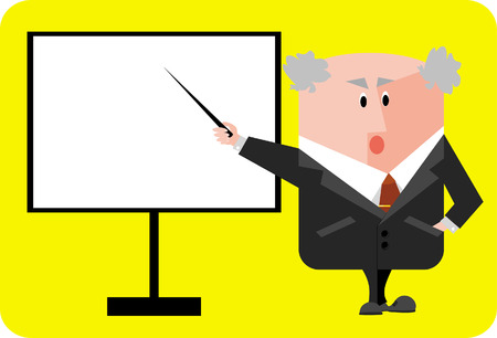 The illustration representing the elderly professor, specifying a blackboard