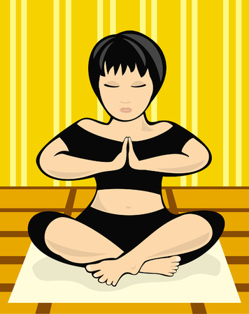 The illustration representing the meditating girl in a room Stock Vector - 3332102
