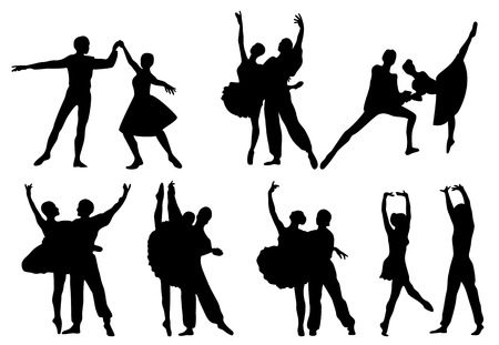 Black silhouettes of ballerinas and dancers in movement on a white background Illustration