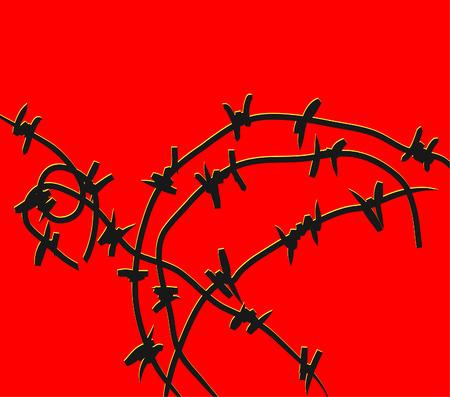runaway: Un alambre de espino negro sobre fondo rojo