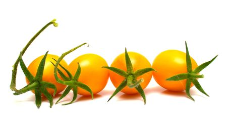 perfect yellow tomatoes on the white. Full isolation, shallow DOF.
