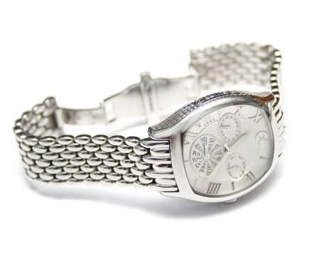 mans watch: Silver mans watch. Isolation on a white background. Macro. Shallow DOF