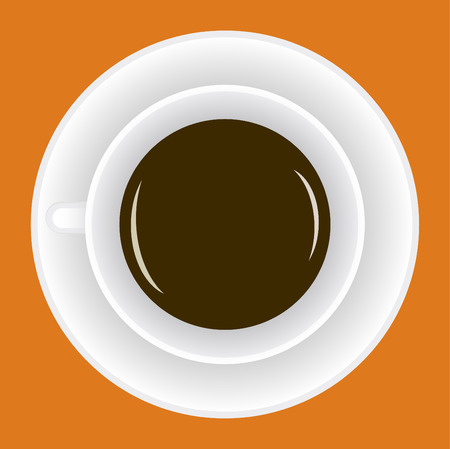 Cup with hot coffee on a orange background. Illustration Vector