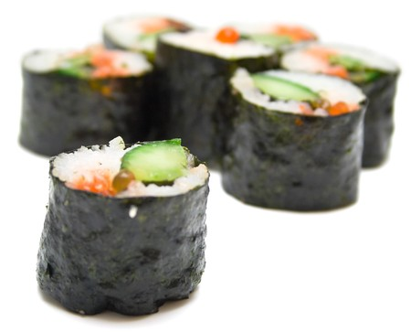 Japanese sushi nori on a white background. Isolation, shallow DOF Stock Photo