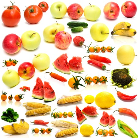 collage from fruits and vegetables on a white background. Isolation Stock Photo - 4313455