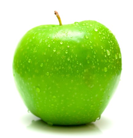 wet green apple covered by water drops on white background. Isolation Stock Photo