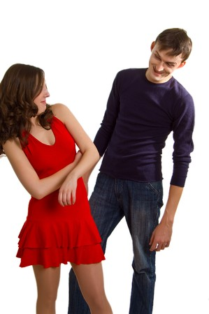 acquaintance: The young man tries to get acquainted with the beautiful girl. Isolation on a white background