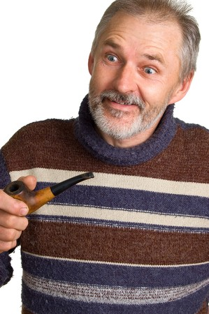 unexpectedness: The elderly surprised man with a pipe in a hand. Isolation on a white background