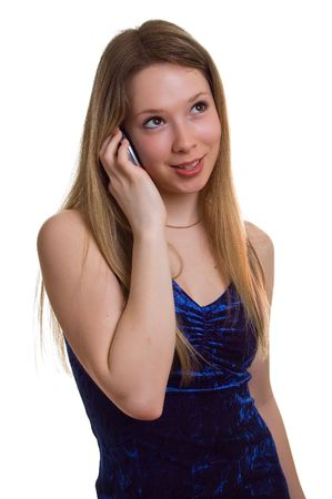 beautiful smiling girl in blue dress with cellular phone on a white background. Isolation Stock Photo - 4584318