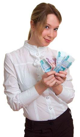 young smiling girl holds money in hand. Isolation on the white Stock Photo - 4869724