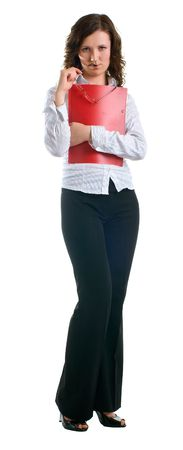 Young women in a business suit with a folder and glasses in hands. Isolated on white background Stock Photo