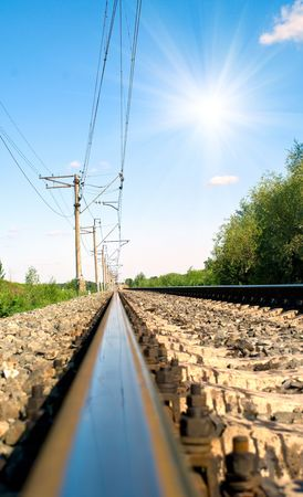 paesaggio industriale: Ferrovia a mezzogiorno. Paesaggio industriale. DOF superficiale