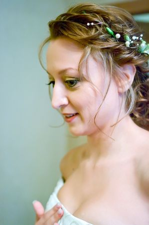 enchanting: The young beautiful bride in a wedding dress. Shallow DOF Stock Photo
