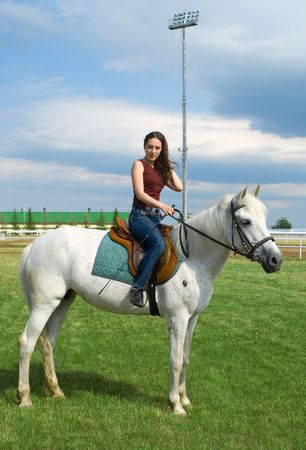 The young beautiful girl embraces a white horse photo